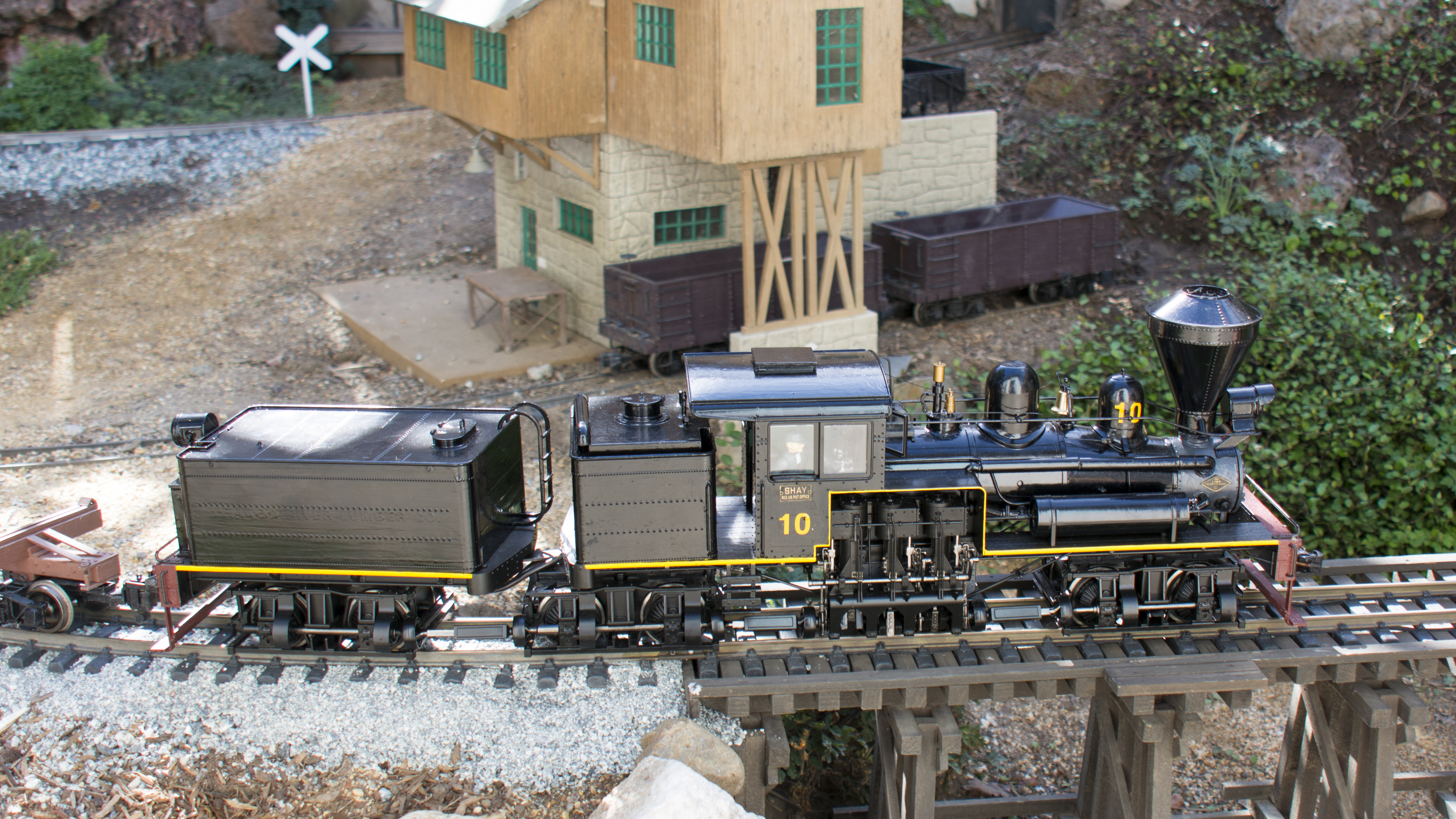 western locomotives shay and truck of garden no pulls the log trains creek trestle dac a fern