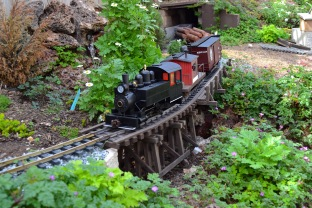 Porter #4 crosses the Upper Fern Creek Bridge with a local. A Trevor Park photo.